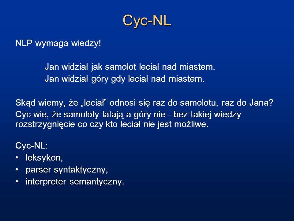Cyc-NL NLP wymaga wiedzy! Jan widział jak samolot leciał nad miastem.