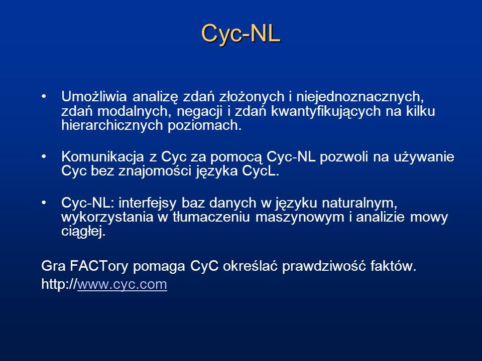 Cyc-NL Umożliwia analizę zdań złożonych i niejednoznacznych, zdań modalnych, negacji i zdań kwantyfikujących na kilku hierarchicznych poziomach.
