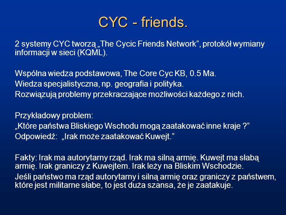 """CYC - friends. 2 systemy CYC tworzą """"The Cycic Friends Network , protokół wymiany informacji w sieci (KQML)."""