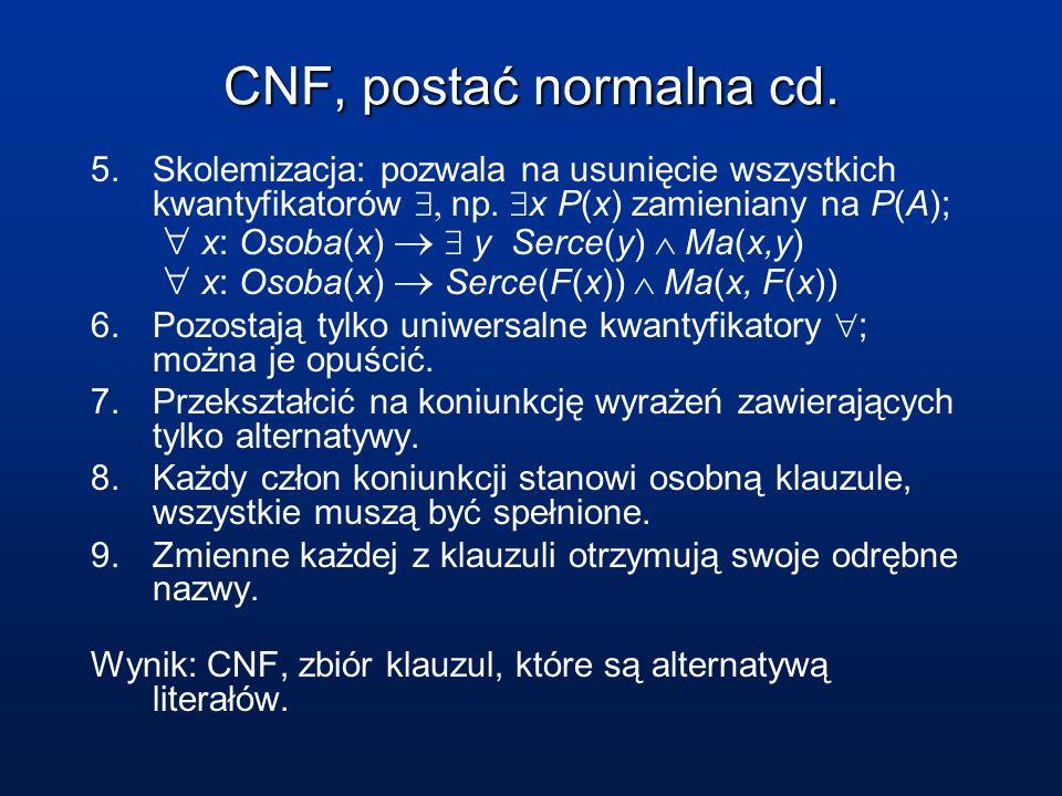 CNF, postać normalna cd.