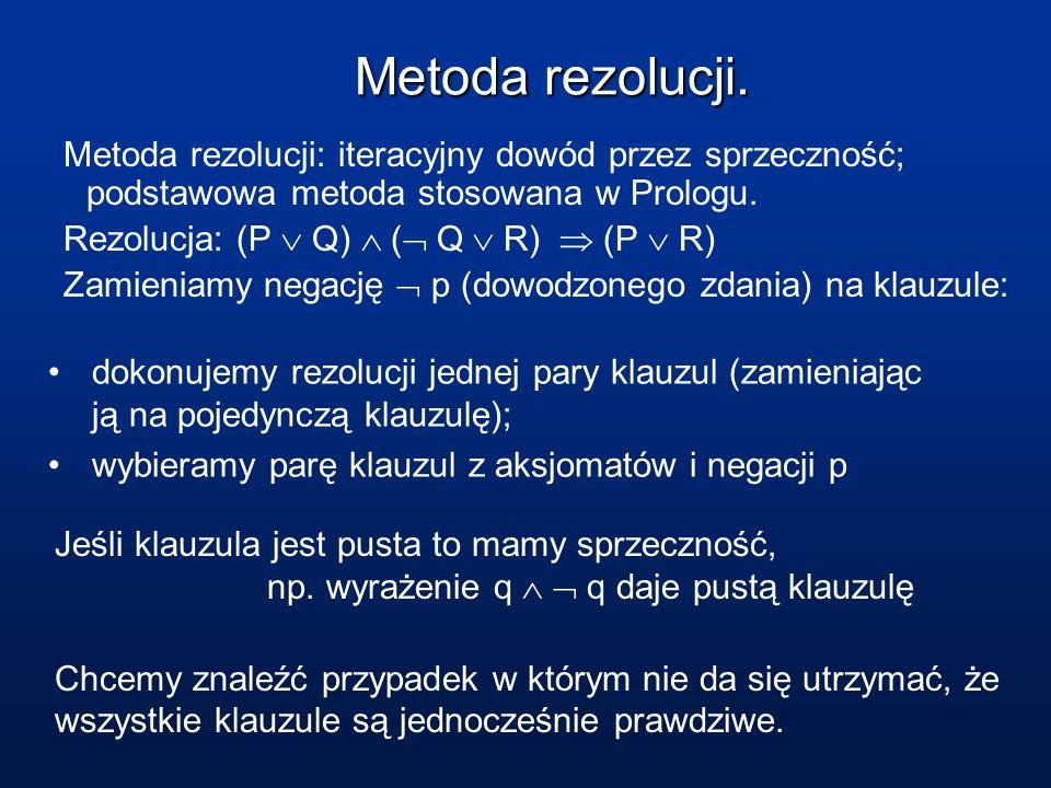 Metoda rezolucji. Metoda rezolucji: iteracyjny dowód przez sprzeczność; podstawowa metoda stosowana w Prologu.