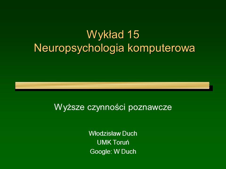 Wykład 15 Neuropsychologia komputerowa