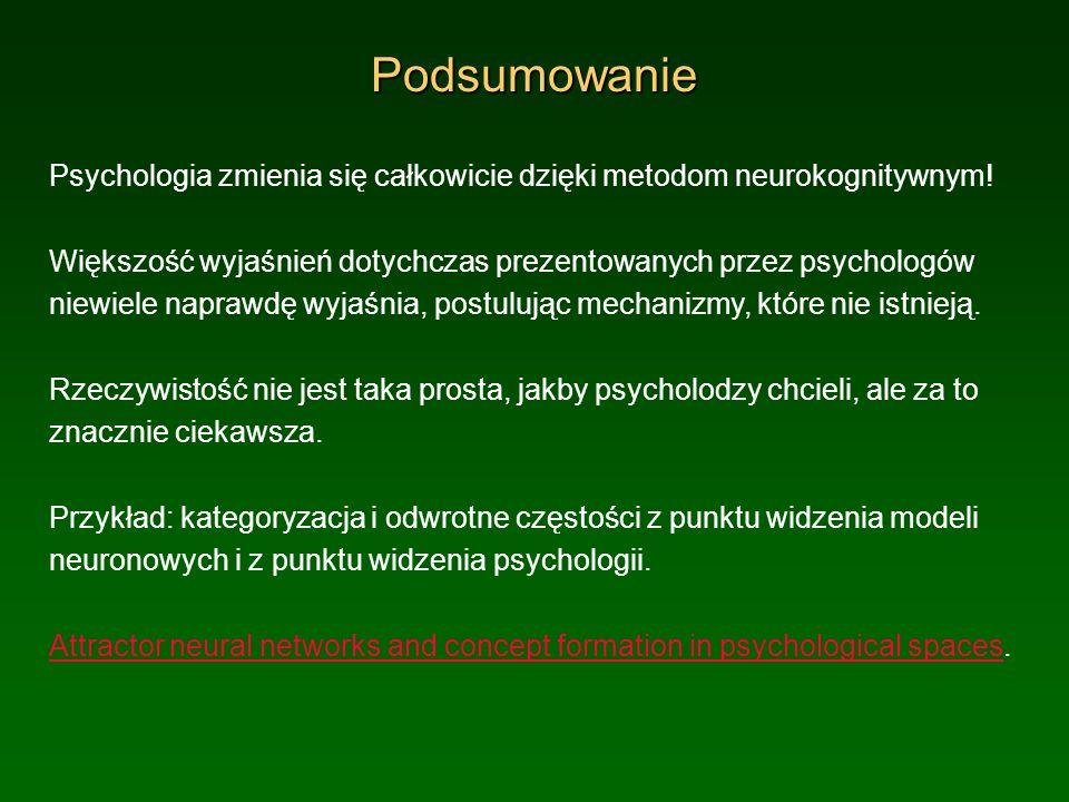 Podsumowanie Psychologia zmienia się całkowicie dzięki metodom neurokognitywnym!