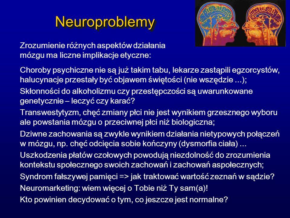 Neuroproblemy Zrozumienie różnych aspektów działania mózgu ma liczne implikacje etyczne: