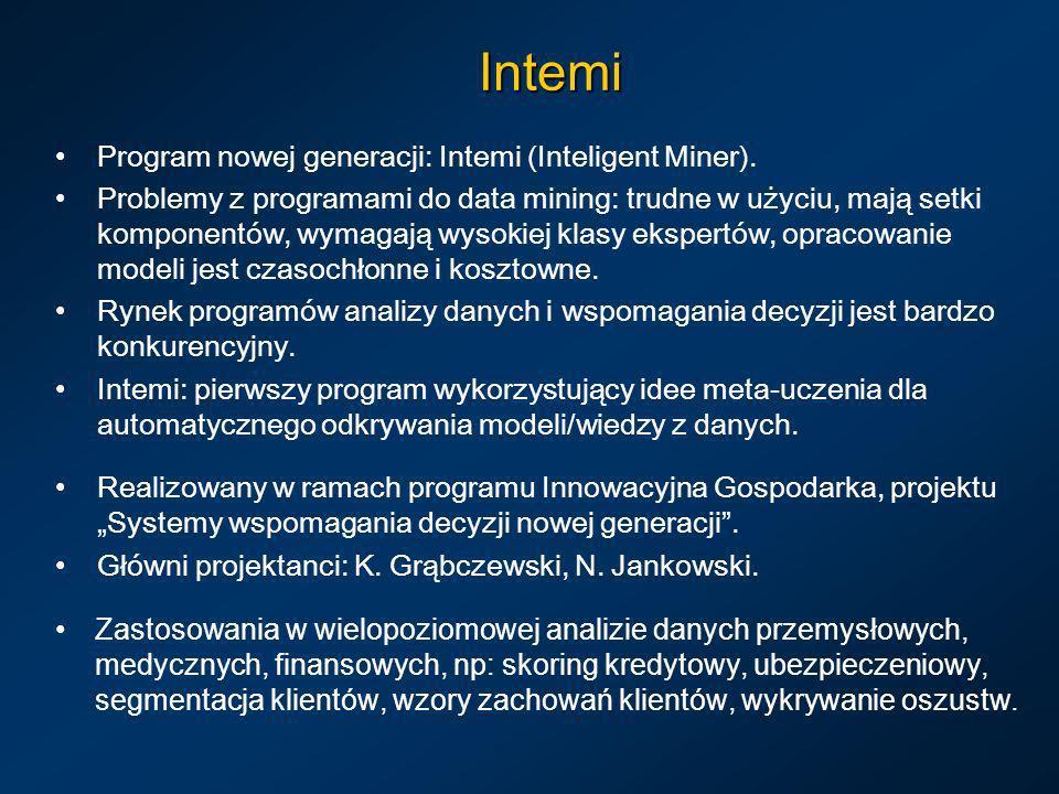 Intemi Program nowej generacji: Intemi (Inteligent Miner).