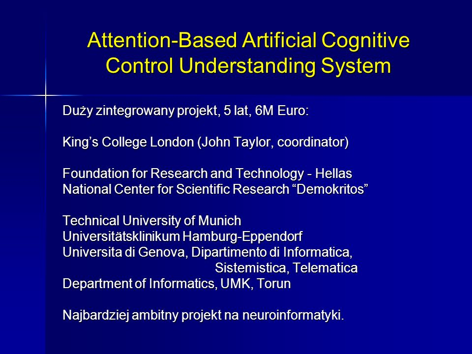 Attention-Based Artificial Cognitive Control Understanding System