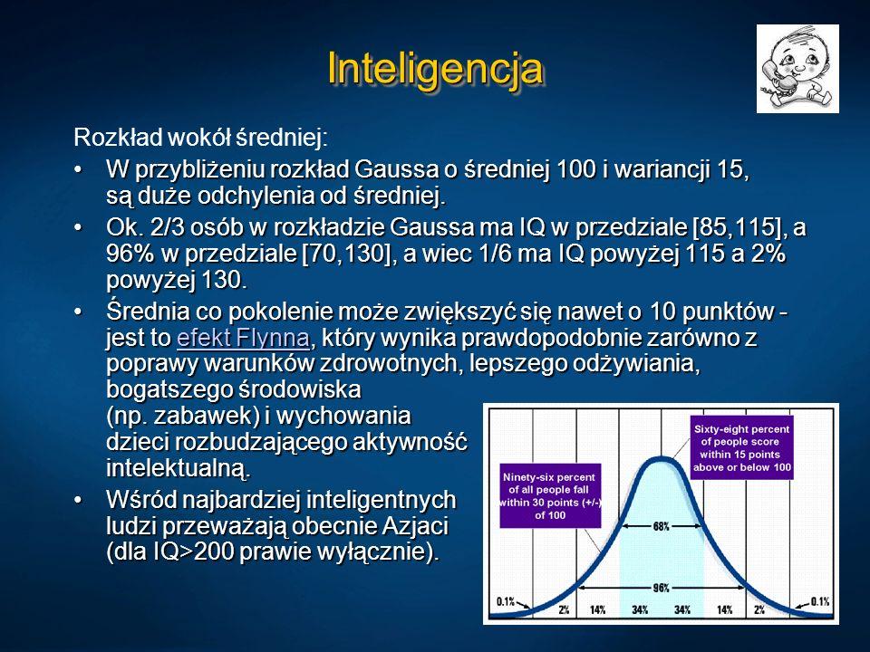 Inteligencja Rozkład wokół średniej: