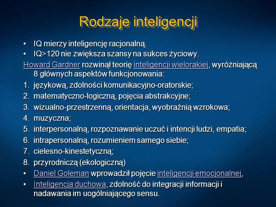 Rodzaje inteligencji IQ mierzy inteligencję racjonalną.