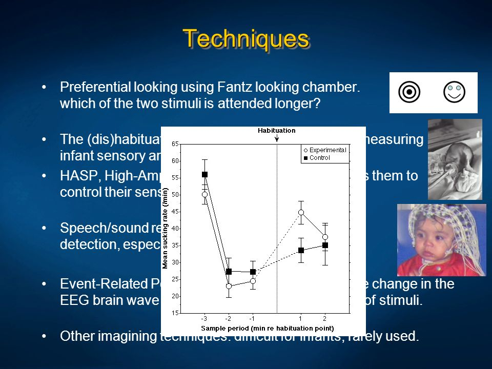 Techniques Preferential looking using Fantz looking chamber. which of the two stimuli is attended longer