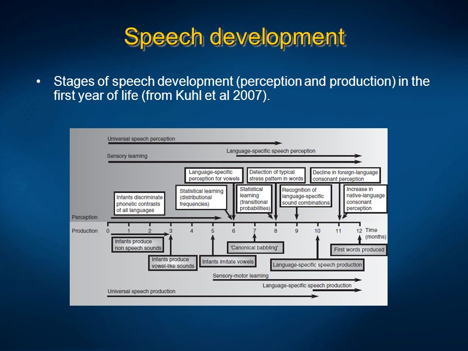 Speech development Stages of speech development (perception and production) in the first year of life (from Kuhl et al 2007).