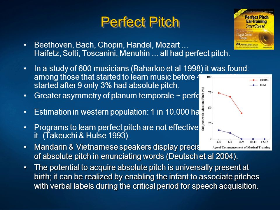 Perfect Pitch Beethoven, Bach, Chopin, Handel, Mozart ... Haifetz, Solti, Toscanini, Menuhin ... all had perfect pitch.