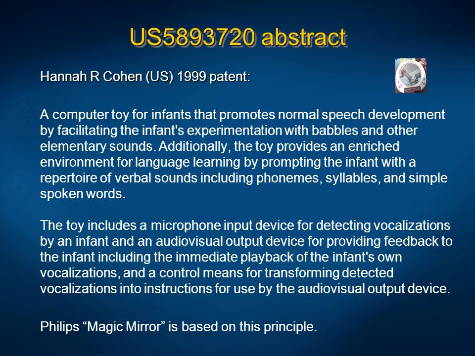 US5893720 abstract Hannah R Cohen (US) 1999 patent: