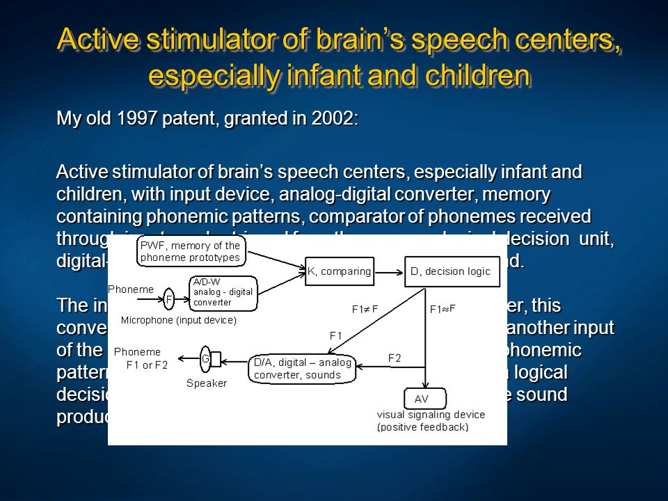 Active stimulator of brain's speech centers, especially infant and children