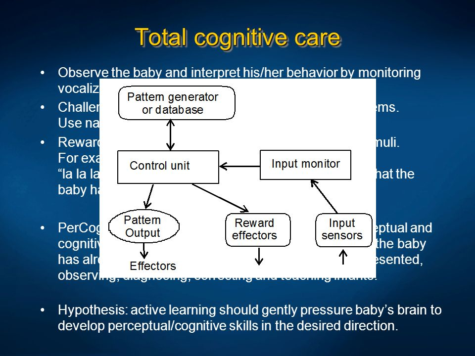 Total cognitive care Observe the baby and interpret his/her behavior by monitoring vocalization, sucking response, movements, GSR etc.