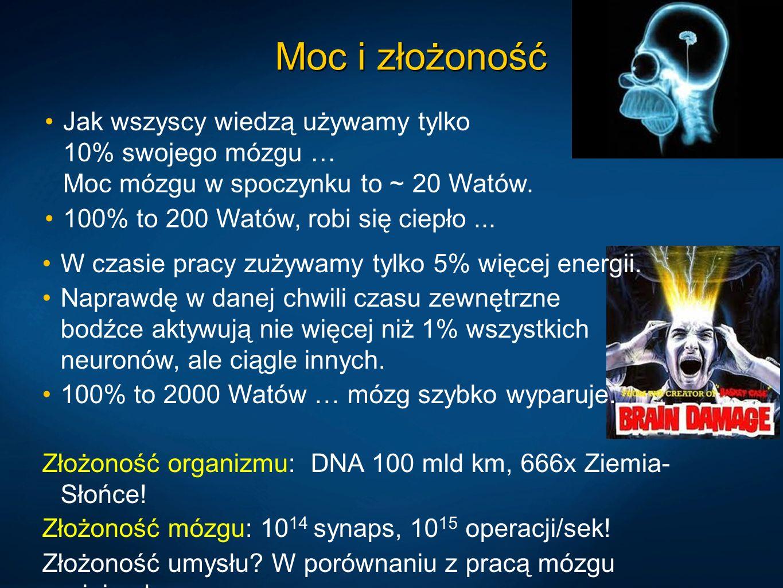 Moc i złożoność Jak wszyscy wiedzą używamy tylko 10% swojego mózgu … Moc mózgu w spoczynku to ~ 20 Watów.