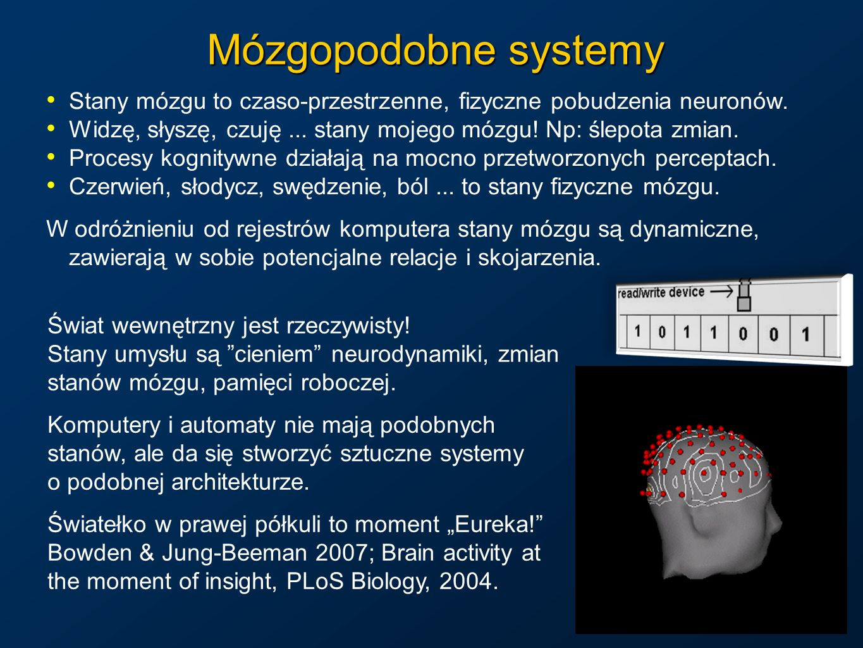 Mózgopodobne systemyStany mózgu to czaso-przestrzenne, fizyczne pobudzenia neuronów. Widzę, słyszę, czuję ... stany mojego mózgu! Np: ślepota zmian.