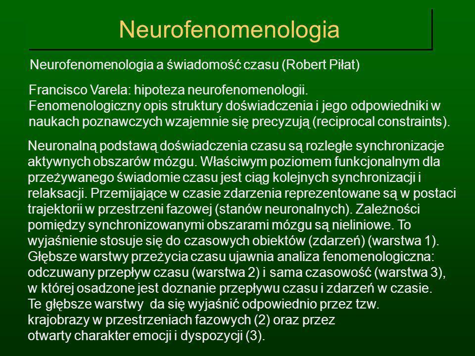 Neurofenomenologia Neurofenomenologia a świadomość czasu (Robert Piłat) Francisco Varela: hipoteza neurofenomenologii.