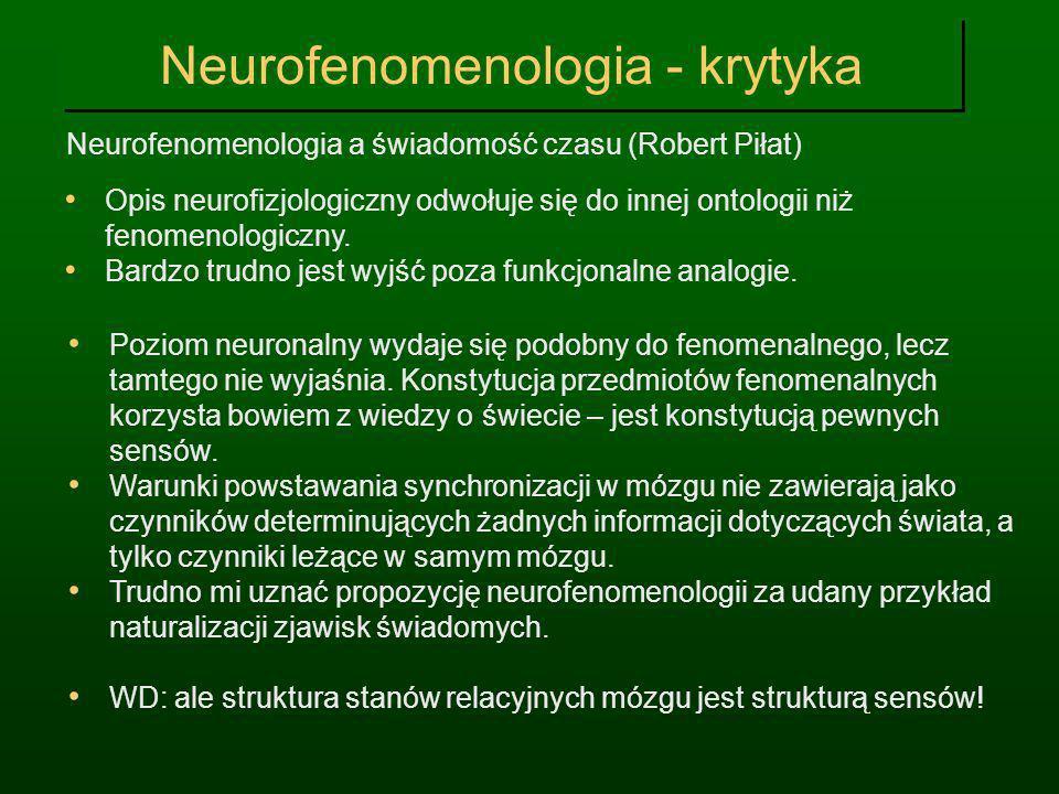 Neurofenomenologia - krytyka