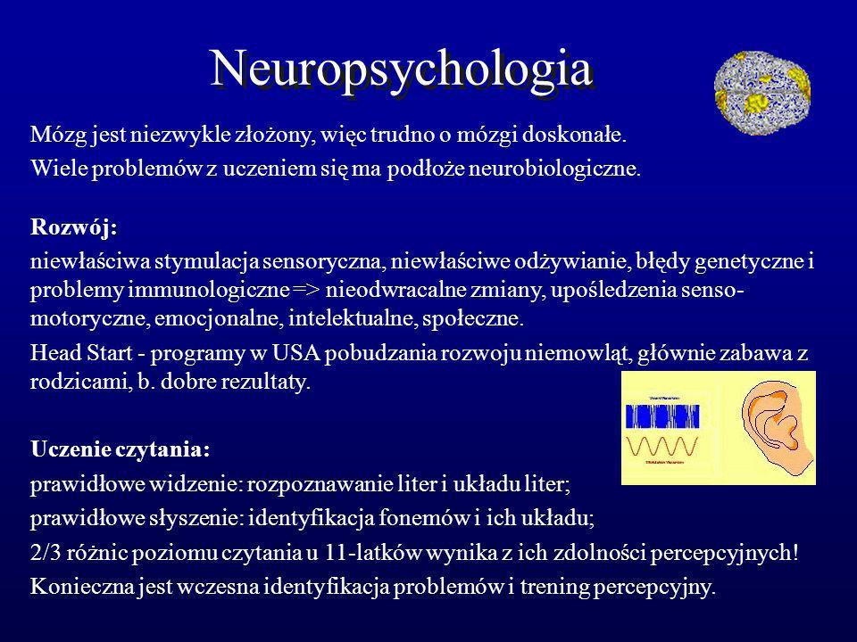 Neuropsychologia Mózg jest niezwykle złożony, więc trudno o mózgi doskonałe. Wiele problemów z uczeniem się ma podłoże neurobiologiczne.