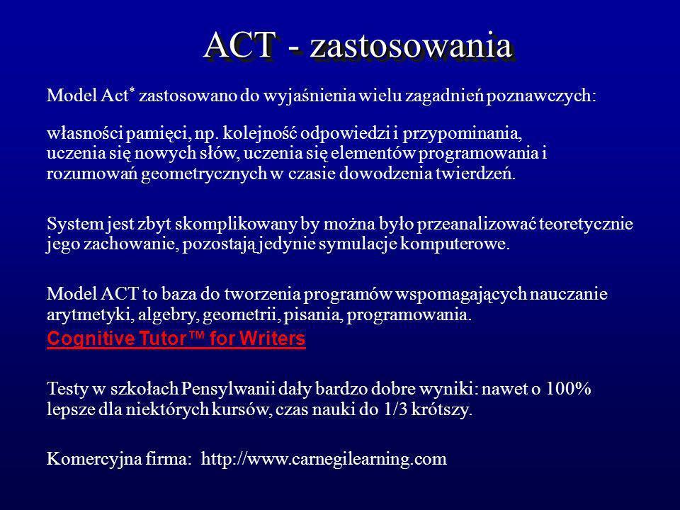 ACT - zastosowania Model Act* zastosowano do wyjaśnienia wielu zagadnień poznawczych: