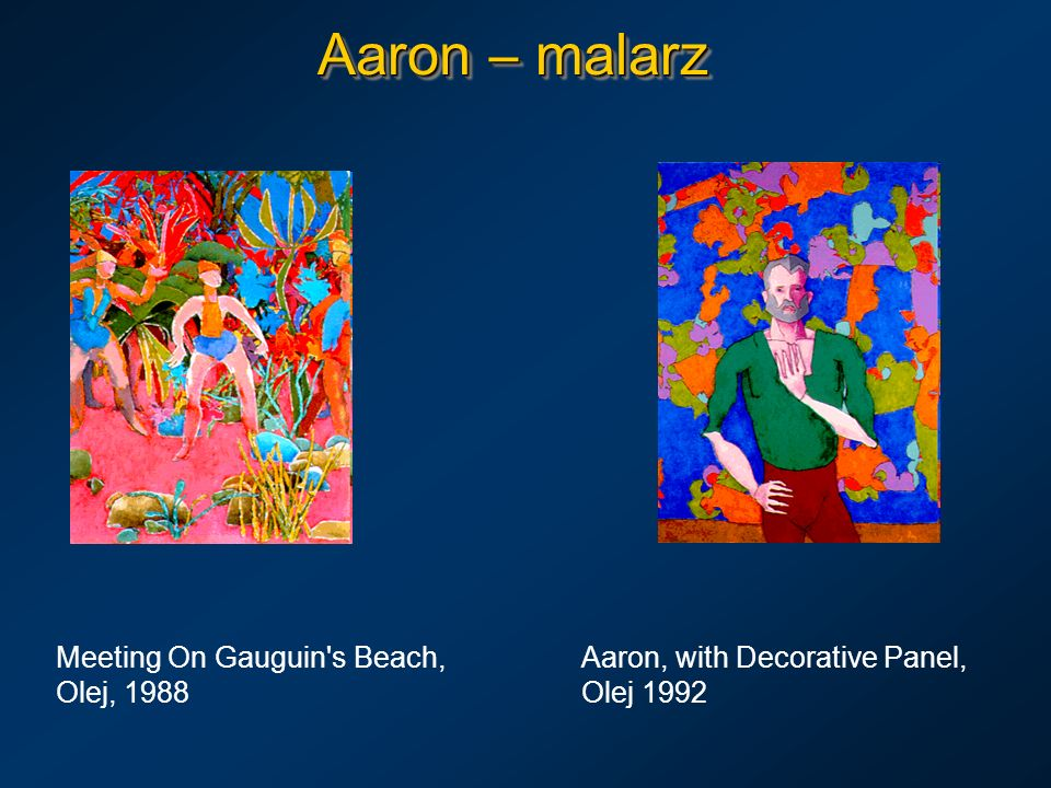 Aaron – malarz Meeting On Gauguin s Beach, Aaron, with Decorative Panel, Olej, 1988 Olej