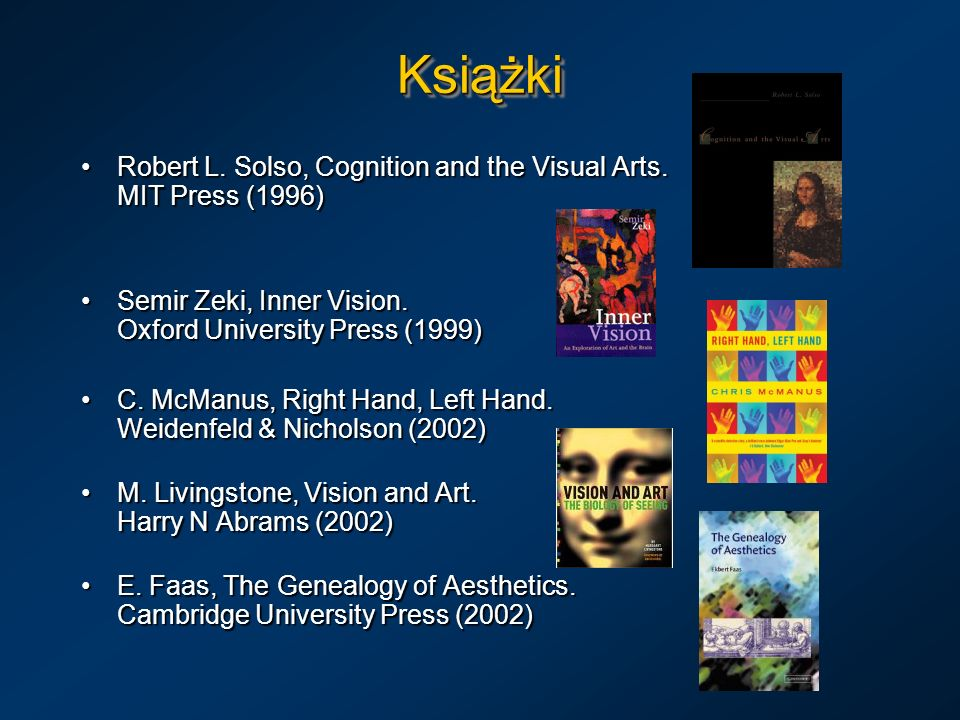 Książki Robert L. Solso, Cognition and the Visual Arts. MIT Press (1996) Semir Zeki, Inner Vision. Oxford University Press (1999)