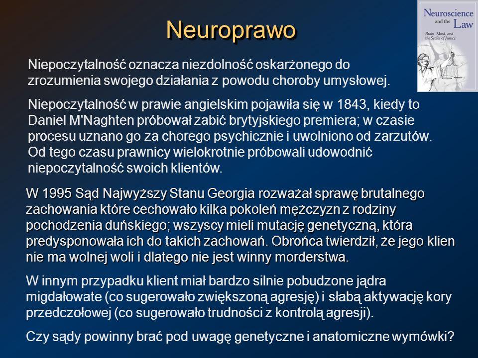 Neuroprawo Niepoczytalność oznacza niezdolność oskarżonego do zrozumienia swojego działania z powodu choroby umysłowej.