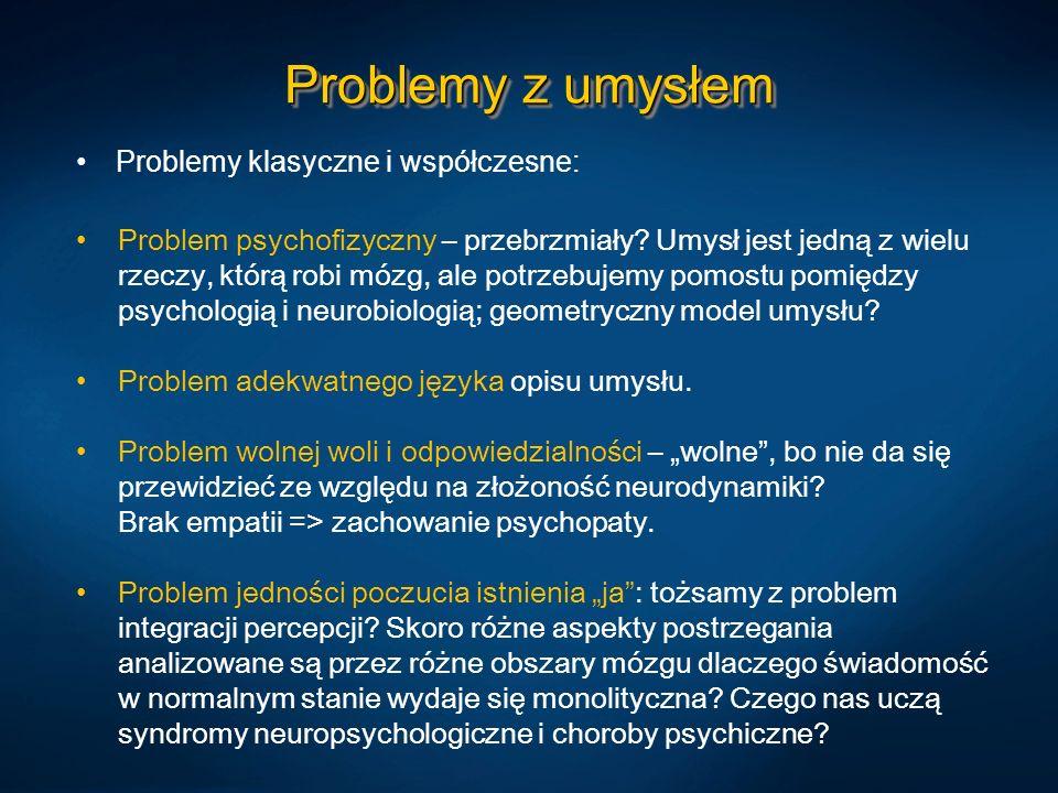 Problemy z umysłem Problemy klasyczne i współczesne:
