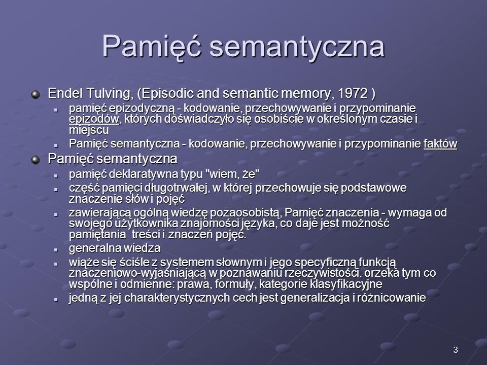 Pamięć semantycznaEndel Tulving, (Episodic and semantic memory, 1972 )