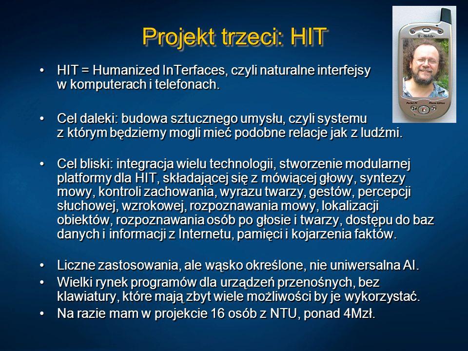 Projekt trzeci: HIT HIT = Humanized InTerfaces, czyli naturalne interfejsy w komputerach i telefonach.