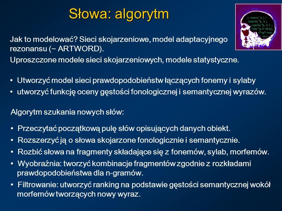 Słowa: algorytm Jak to modelować Sieci skojarzeniowe, model adaptacyjnego rezonansu (~ ARTWORD).
