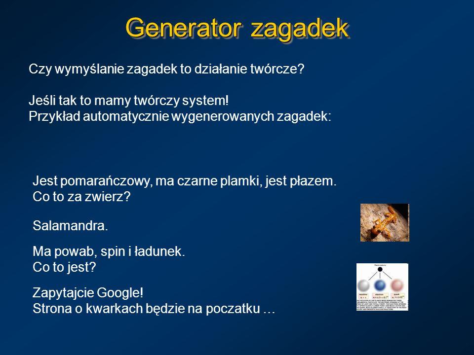 Generator zagadek Czy wymyślanie zagadek to działanie twórcze
