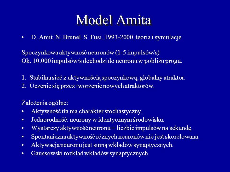 Model Amita D. Amit, N. Brunel, S. Fusi, 1993-2000, teoria i symulacje