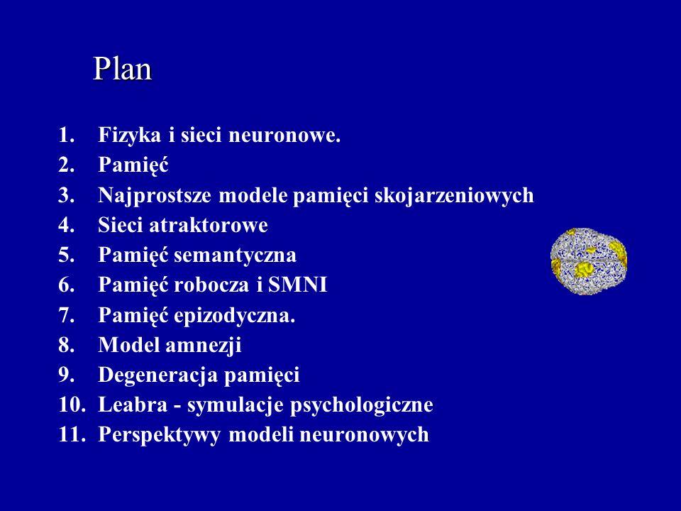 Plan Fizyka i sieci neuronowe. Pamięć