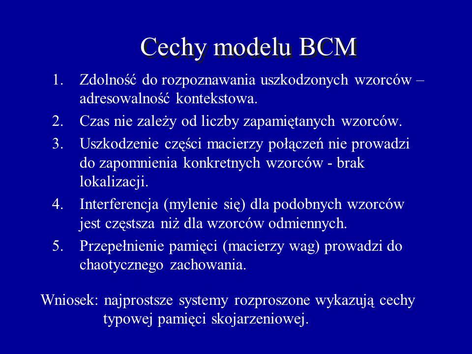 Cechy modelu BCM Zdolność do rozpoznawania uszkodzonych wzorców – adresowalność kontekstowa. Czas nie zależy od liczby zapamiętanych wzorców.