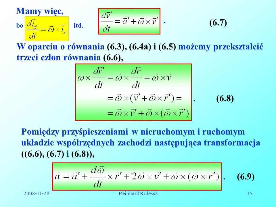 Mamy więc, . (6.7) bo. itd. W oparciu o równania (6.3), (6.4a) i (6.5) możemy przekształcić trzeci człon równania (6.6),