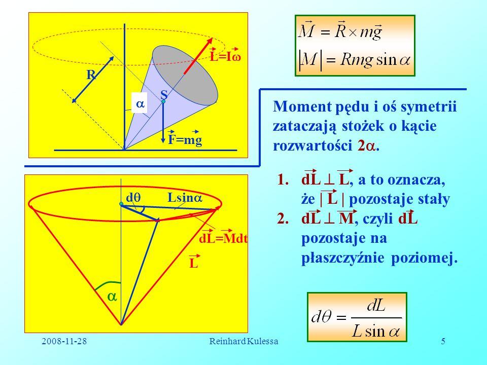 Moment pędu i oś symetrii zataczają stożek o kącie rozwartości 2.