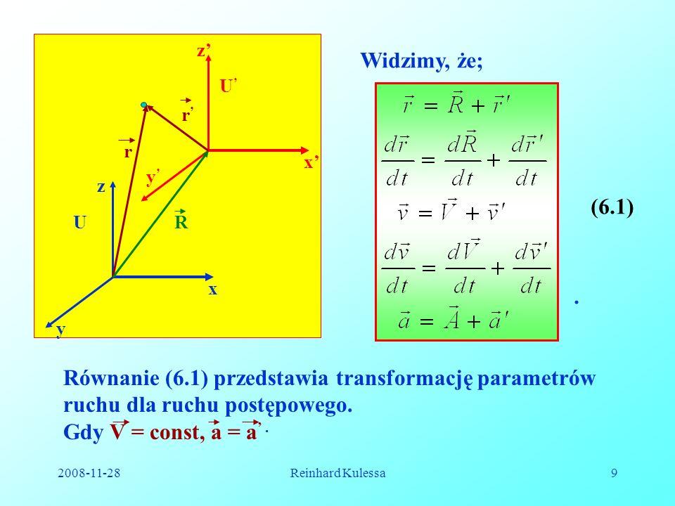 Równanie (6.1) przedstawia transformację parametrów