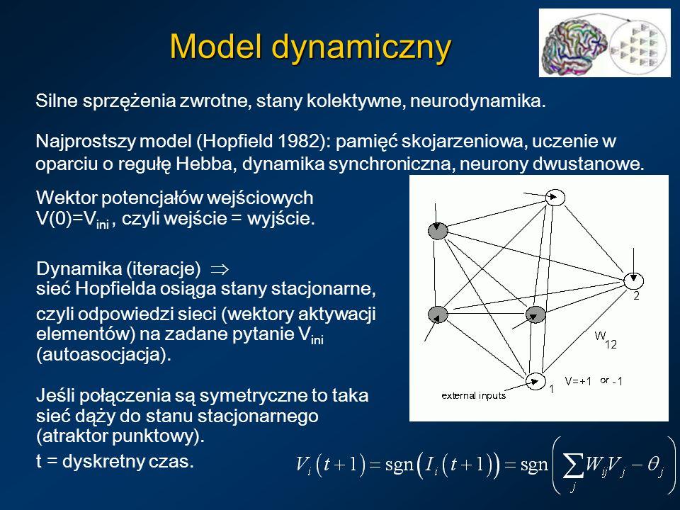 Model dynamiczny Silne sprzężenia zwrotne, stany kolektywne, neurodynamika.