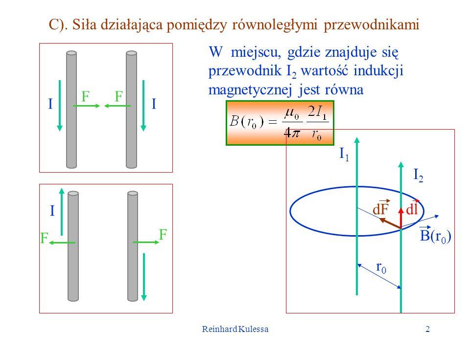 C). Siła działająca pomiędzy równoległymi przewodnikami