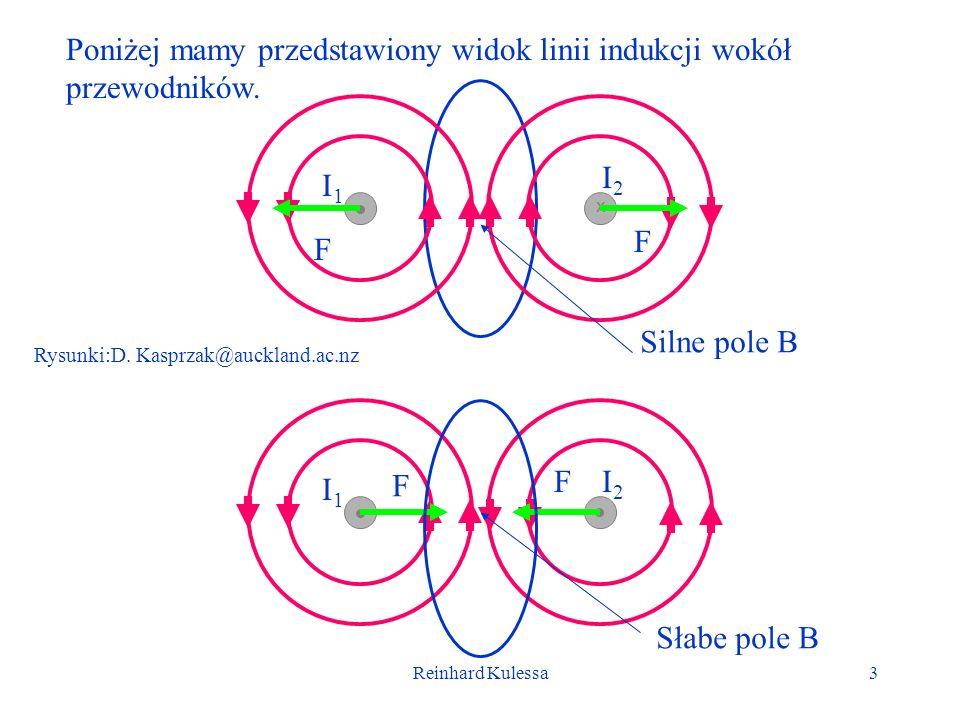 Poniżej mamy przedstawiony widok linii indukcji wokół przewodników.