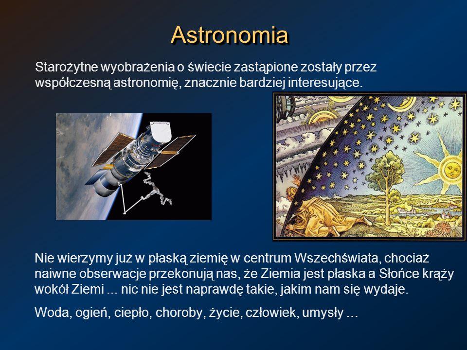 Astronomia Starożytne wyobrażenia o świecie zastąpione zostały przez współczesną astronomię, znacznie bardziej interesujące.