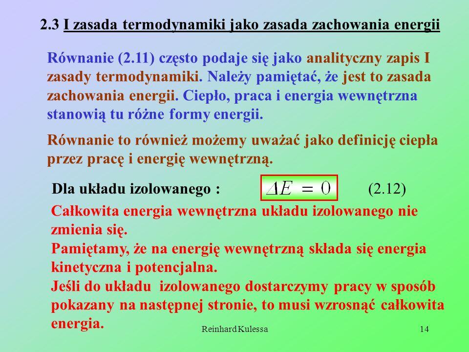 2.3 I zasada termodynamiki jako zasada zachowania energii