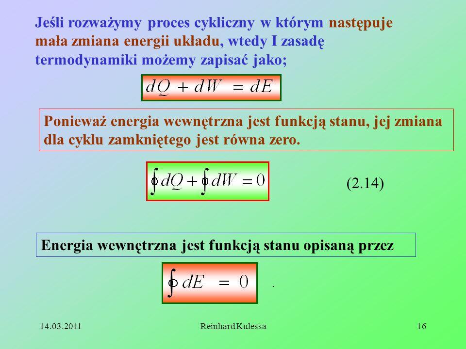 Energia wewnętrzna jest funkcją stanu opisaną przez