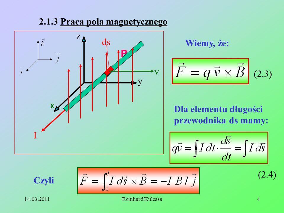 B 2.1.3 Praca pola magnetycznego z ds Wiemy, że: v (2.3) y