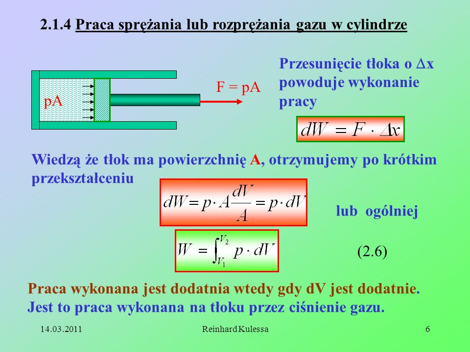2.1.4 Praca sprężania lub rozprężania gazu w cylindrze