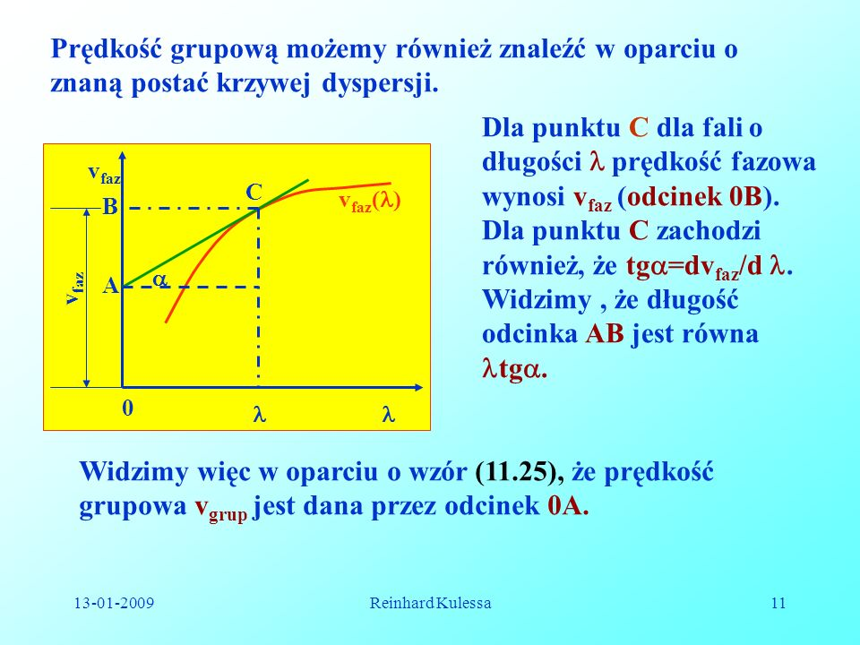 Dla punktu C zachodzi również, że tg=dvfaz/d .