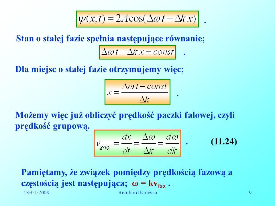 Stan o stałej fazie spełnia następujące równanie;