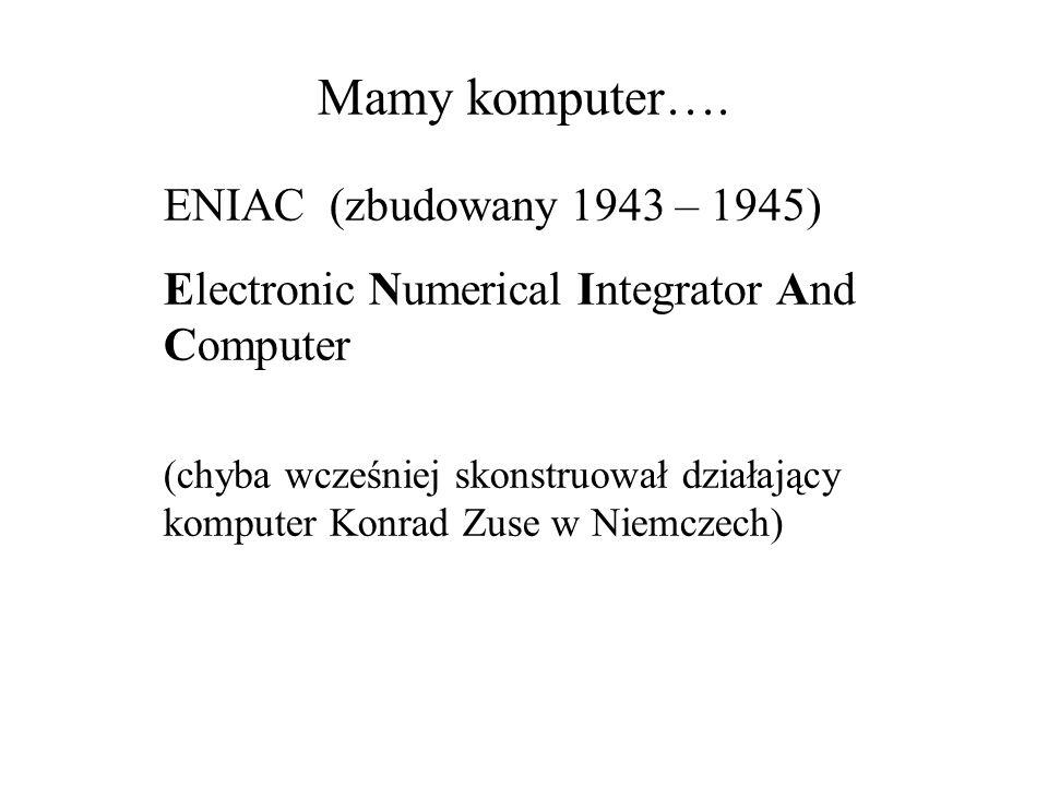 Mamy komputer…. ENIAC (zbudowany 1943 – 1945)