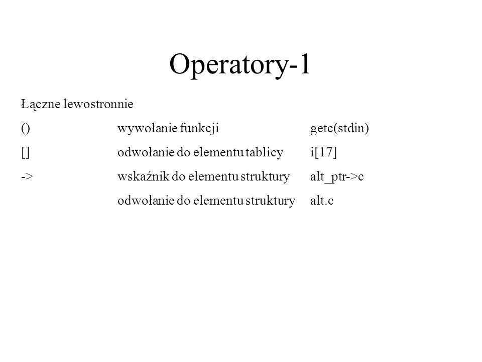 Operatory-1 Łączne lewostronnie () wywołanie funkcji getc(stdin)